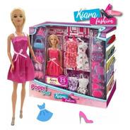 Muñeca Kiara Fashion + 25 Accesorios Tipo Barbie Poppi Doll