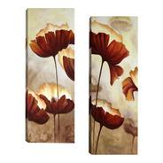 Par De Quadros Sala Quarto Corredor Flores Marrom 20x60