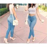 Pantalones Jeans Pitillo Tiro Alto A La Cintura
