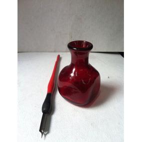 Antiguo Tintero De Cristal Rojo Con Burbujas Soplado En Mold