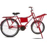 Bicicleta Cargueira Vermelha Aro 26 Sport Bike