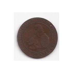 España Antigua Moneda De Cobre 2 Centimos Año 1870 Excelente