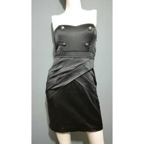 Hermoso Vestido Strapless Con Botones Negro Satin Mujer