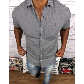 Camisa Social Slim Fit Manga Curta Masculina Ralph Lauren