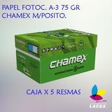 Caja X 5 Resmas Papel Fotoc. A-3 75 Gr Chamex M/posito.