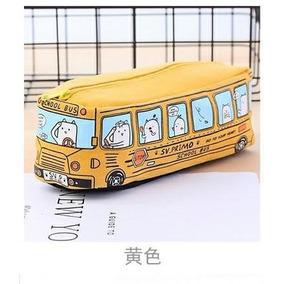 Estojo Escolar Onibus Americano Amarelo Menino Kawaii