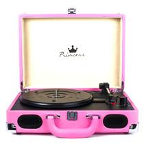 Vitrola Toca Discos Princess Pink Portátil - Pd