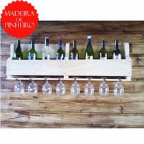 Kit 2 Adegas Parede Madeira Porta Vinho 9 Garrafas