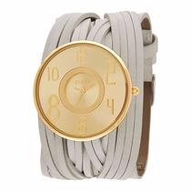 Relógio Euro De Couro Bege C/ Dourado Eu2035bv/2x Promoção!