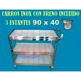 Carro Acero Inox Servicio Carrito Catering Hospital Ruedas