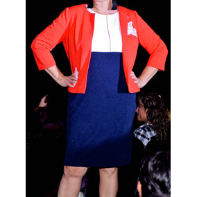 Conjunto De Vestido Top Blanca Con Vivos Rojos Y Falda Azul