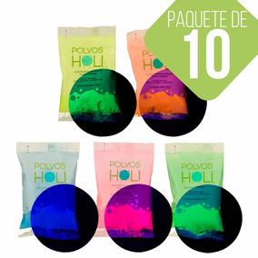 Polvos Holi Glow Original Neón 75gr Paquete De 10 Fiestas