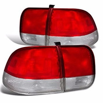 Par De Lanternas Traseiras Red Clear Honda Civic 96 97 98