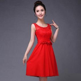 Vestidos cortos en color rojo quemado