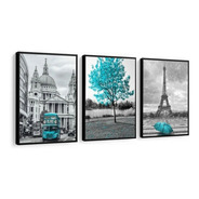 Quadro Londres Árvore Da Vida Azul Tiffany Torre Eiffel