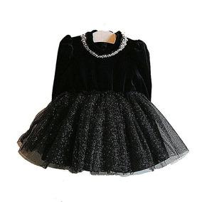 Vestido Otoño Invierno Negro Manga Larga Para Niña