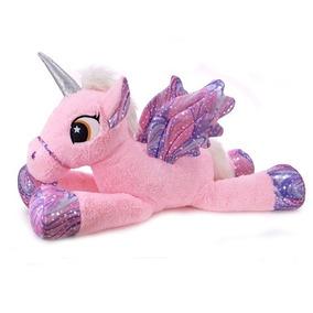 Unicornio Con Alas Y Brillos Echado De 40 Cm Phi Phi Toys