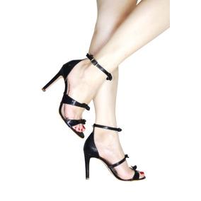 1cb924fb0e Sandalia Preta Saltos Fino Laco Sapatos - Sapatos no Mercado Livre ...