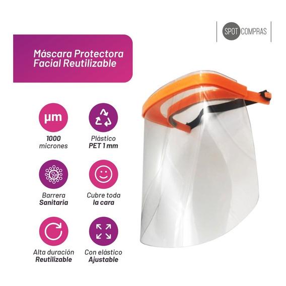 Mascara Protectora Facial Reutilizable Transparente Pet 1mm