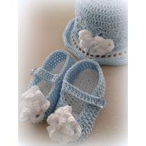 Gorro Y Zapatos Tejidos Para Bebé