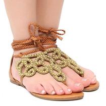 Sandália Rasteira Zariff Shoes Amarração Pedras | Zariff