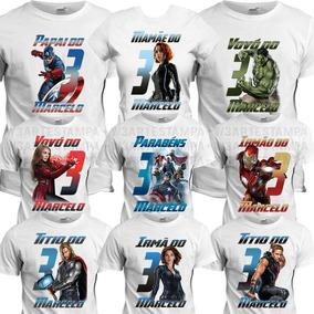 7 Camisetas Kit Aniversário Blusa Qualquer Tema Camisa Festa
