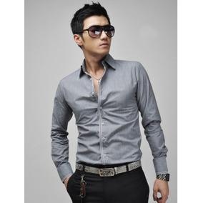 Camisa Manga Larga Hombre Moda Asiática