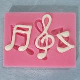 Molde Silicone Chocolate Mini Musica Notas Musicais Biscuit