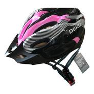 Capacete Com Sinalizador Led Ciclismo Bike Rosa Preto Tam M