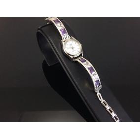 Reloj De Plata Ley 925 Piedras De Zirconia Para Dama Morado