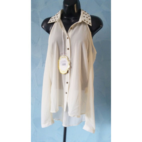 Camisa Feminina Chiffon Transparente Off Whrite Tachasvazado