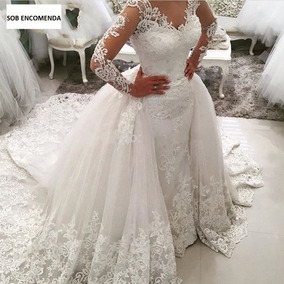 Vestido Noiva Princesa Renda Manga Longa Cauda Destacável