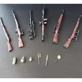 6 Miniaturas Fuzil Carabina Morteiro Armas De Guerra 19 Cm