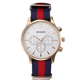 Relógio Migger Masculino Pulseira Em Tecido Elegante Barato