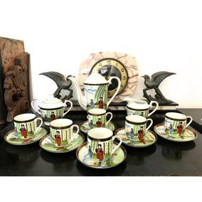 Juego Antiguo Cafe De Porcelana Japonesa Cascara Huevo 15p