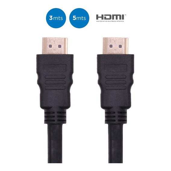 Cable Hdmi 4k 3d Full Hd Conector Oro 3 Metros Smarttv Envio