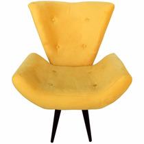 Poltrona Isabella Decorativa Amarela Sala Estar Pes Palito