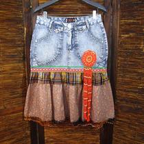Saia Jeans 42 Pikuxa Customizada Babaado Recyced E20