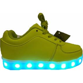 Zapatillas Led Verde Flúor 10 Funciones De Luces Recargables