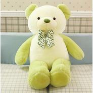 Urso De Pelúcia Grande Creme Com Verde 80cm + Enchimento