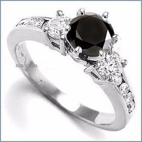 G C+ Anillo De Compromiso Diamante Negro En Oro 18k -50% 034