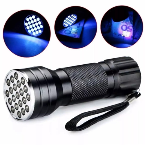 Lanterna Led Luz Ultravioleta 21 Led Luz Negra Uv Blacklight