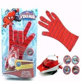 Luva Homem Aranha Lança Disco Teia Brinquedo Lançador Spider