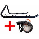 Kit Cadeado Para Bike 6mmx1m + Suporte P/ Parede Horizontal