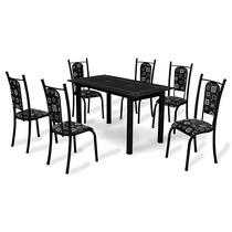 Conjunto Mesa Jantar Cozinha 6 Cadeiras Tampo Em Granito