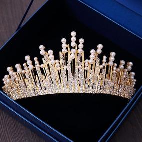 Coroa Tiara Perolas Cristai Acessório Cabelo Noivas Dourado2