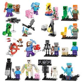 Coleção 16 Bonecos Minecraft - Esqueleto White Zombie Alex