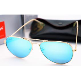 Oculos Sol Rayban Aviador Azul Dourado Feminino Masculino