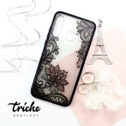 Funda Encaje Negro Flor Loto Mandala Dama Huawei P30 Lite