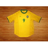 Camiseta Nike Brasil 2000-02, Talla L, Ronaldo, Usada